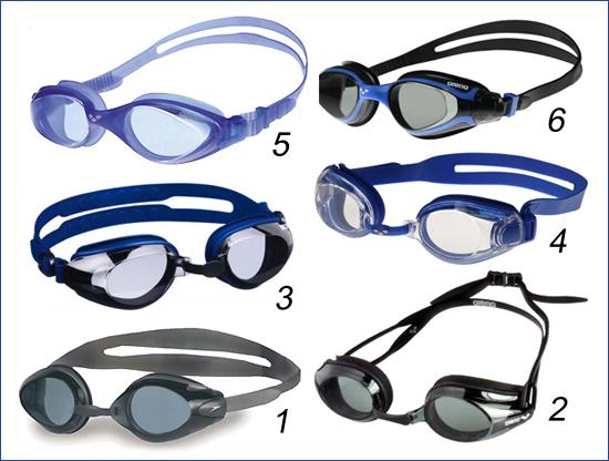 Очки для плавания с разной конструкцией переносицы (литая, сменная, ступенчатая)