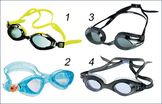 Очки для плавания с разной регулировкой ремешка
